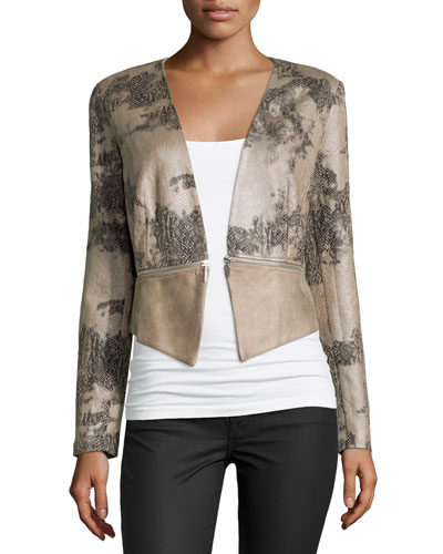 Ponte Jacket W/Exposed Zipper, Beige Combo