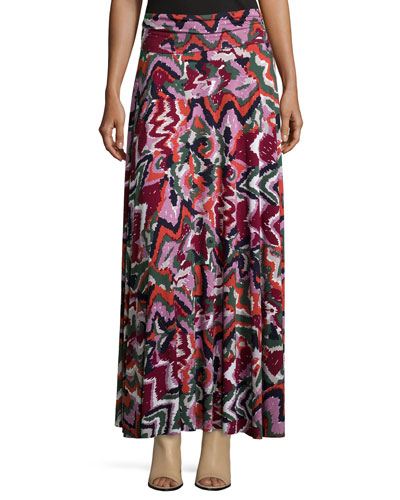 Long Printed Full Skirt, Women's