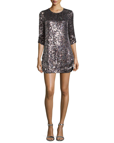 Parker Black Petra 3/4-Sleeve Sequined Shift Dress