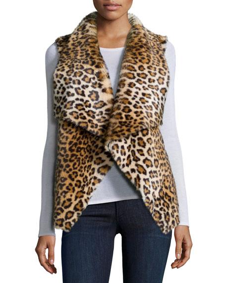 Dariela Open-Front Faux-Fur Vest, Leopard