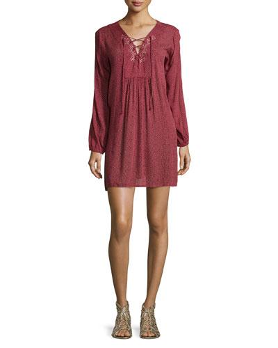 Sloane Long-Sleeve Dress, Red