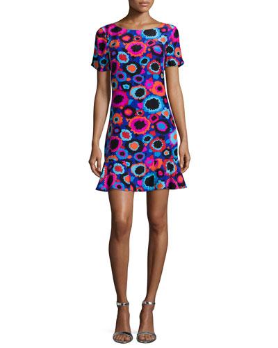 Tamara Short-Sleeve Floral-Print Dress