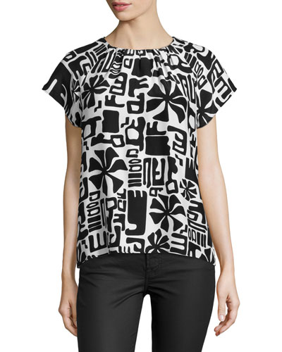 Shauna Short-Sleeve Printed Top, White
