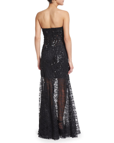 Strapless 3D Lace Illusion Skirt Gown