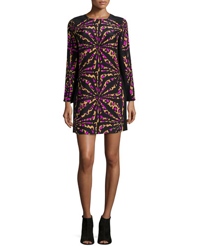 Zoey Long-Sleeve Printed Shift Dress, Camel