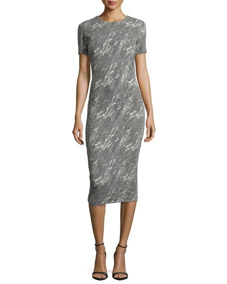 McQ Alexander McQueen TV Screen-Jacquard Midi Sheath Dress