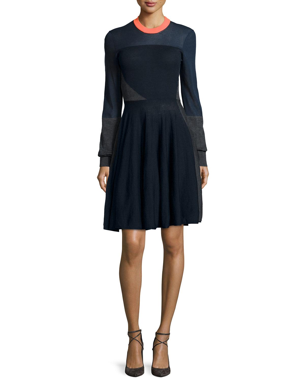 a9f27ad64b0 McQ Alexander McQueen Colorblock A-Line Sweater Dress