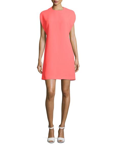 McQ Alexander McQueen Cape-Sleeve Shift Dress, Reflector