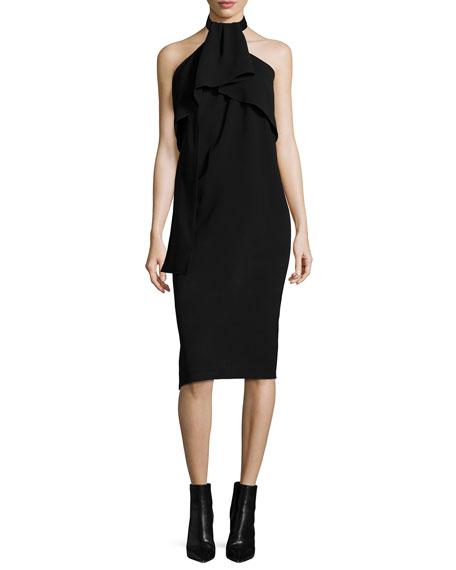 McQ Alexander McQueen Sleeveless Drape-Neck Halter Dress, Black