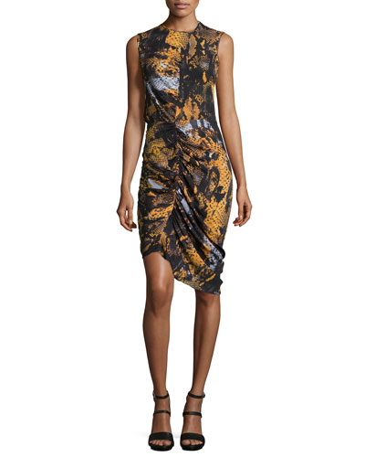 Silk Asymmetric Gathered Dress, Amber Snake