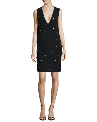 Studded Plunge-Neck Dress, Black