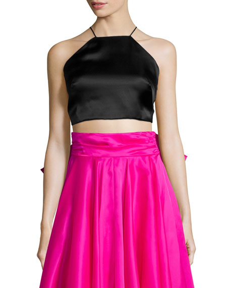 Milly Satin Halter Crop Top & Bow-Back Maxi