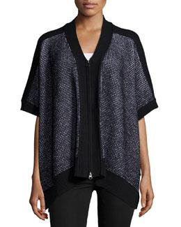 Short-Sleeve Seven-Gauge Poncho, Black/White