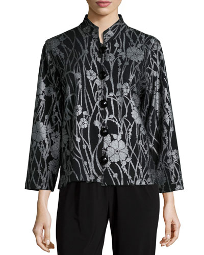 Deco Flower Button-Front Jacket, Women's