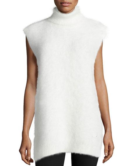 Fala Turtleneck 3GG Mink-Cashmere Vest, White