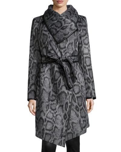 Polly Animal-Print Belted Coat