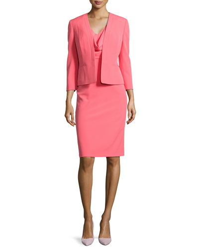 Draped Sheath Dress W/ Matching Jacket