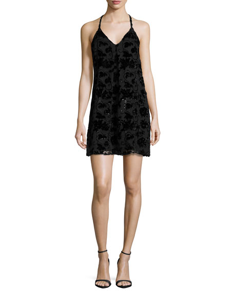 Alice + Olivia Fierra Sleeveless Velvet-Trim Mini Dress,