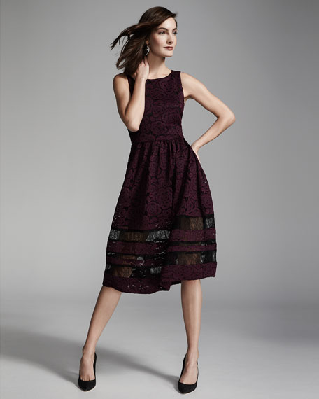 Image 2 of 3: Odelia Sleeveless Lace Midi Dress, Plum/Black