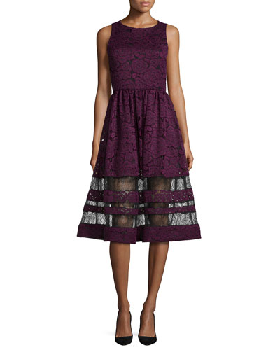 Odelia Sleeveless Lace Midi Dress, Plum/Black