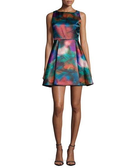 Alice + Olivia Belia A-Line Watercolor Dress, Multicolor