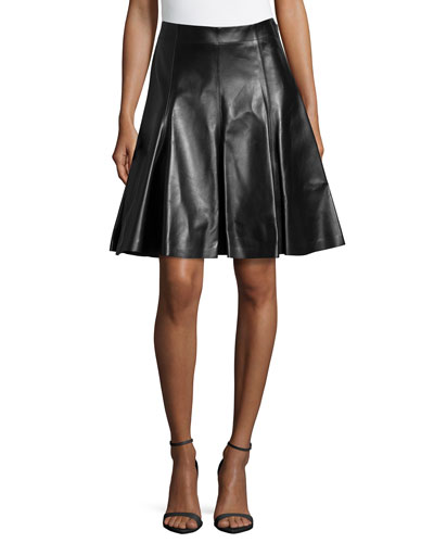 Flare Leather Skirt, Black