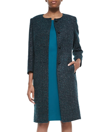 Metallic Tweed Coat & Solid Dress