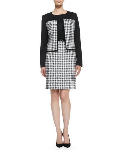 Houndstooth Combo Sheath Dress & Jacket Set