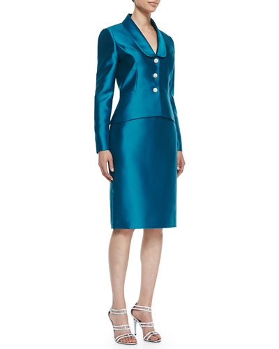 Peplum Skirt Suit Set with Jeweled Buttons