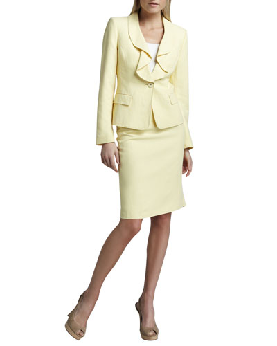 Ruffled Silk-Linen Suit