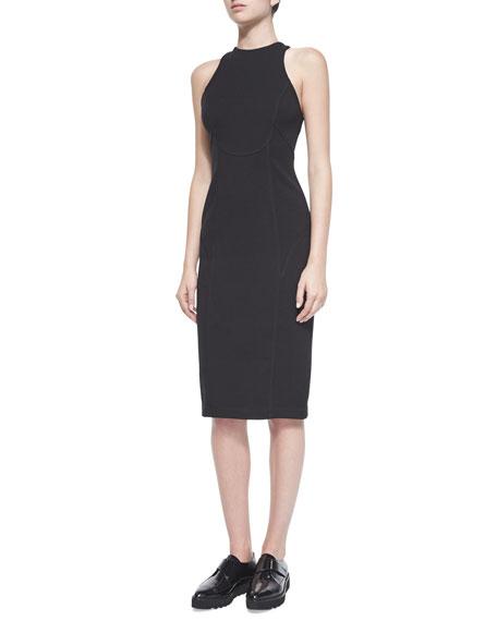 T by Alexander Wang Ponte Sleeveless Dress, Black