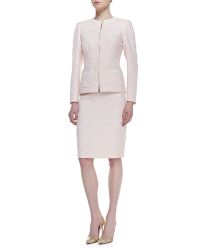 Long Sleeve Tweed Skirt Suit, Peach Sorbet