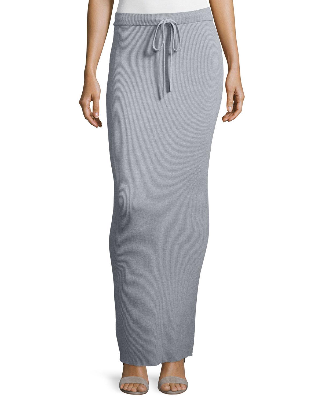 497a41de6b T by Alexander Wang Ribbed Drawstring Maxi Skirt, Heather Gray ...