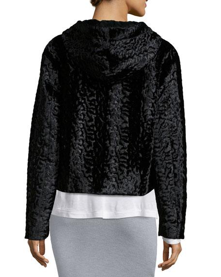Velvet Faux-Fur Hooded Bomber Jacket, Black