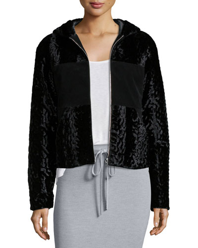 Velvet Faux-Fur Hooded Bomber Jacket, Black