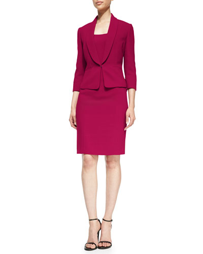 Sleeveless Seamed Dress & Jacket Set Suit