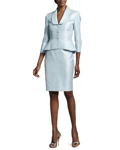 Metallic Jacquard Skirt Suit