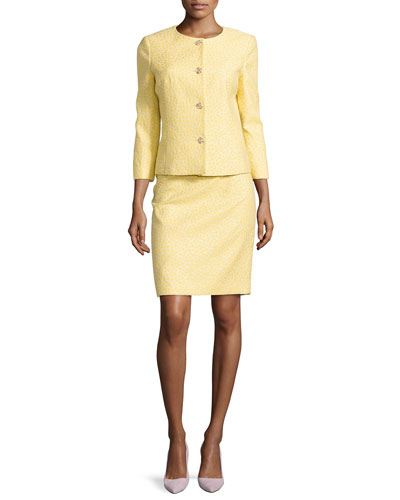 Lurex® Jacket & Skirt Set, Canary Yellow