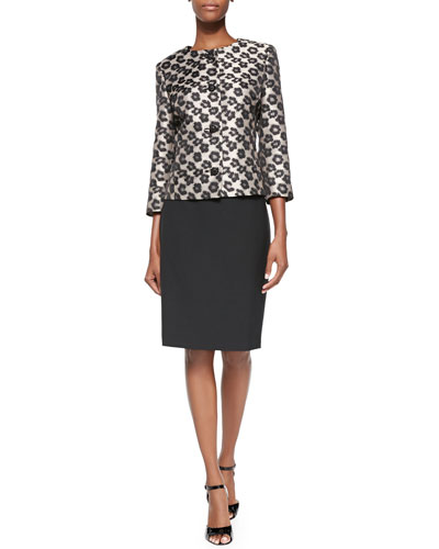3/4-Sleeve Leopard Jacket Skirt Suit