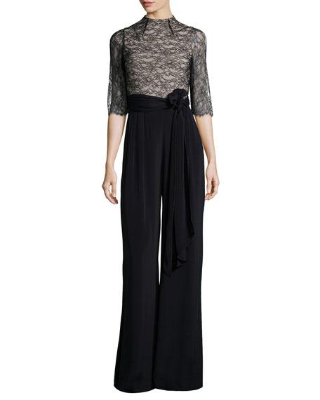 Rona Lace-Trim Jumpsuit, Black/Brown