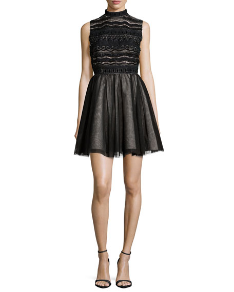 Alice + Olivia Taya Embroidered A-Line Dress, Black/Brown