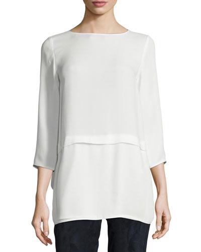 Glenda 3/4-Sleeve Silk Blouse