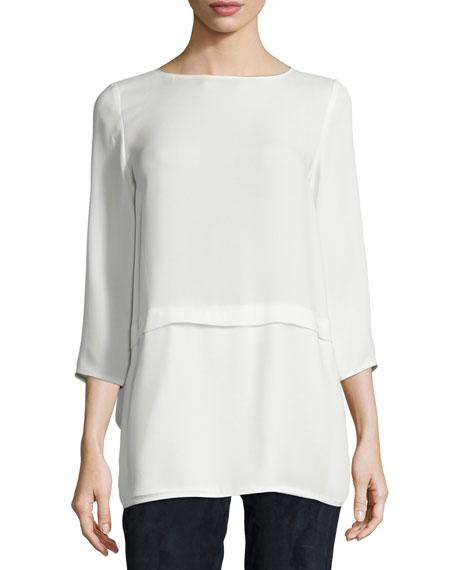 Lafayette 148 New York Glenda 3/4-Sleeve Silk Blouse