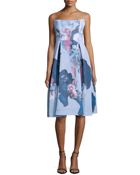 Strapless Mesh Ball Dress, Painted-Floral