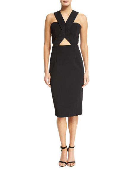 Sleeveless Bandage-Wrap Dress, Black