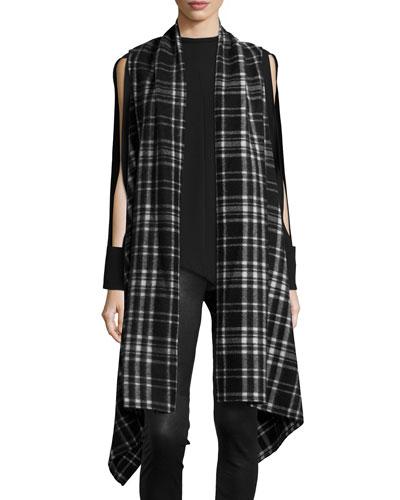 Asymmetric Plaid Blanket Wrap, Black/White