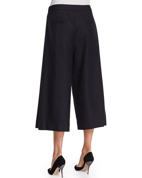 Pinstripe Culotte Pants, Navy
