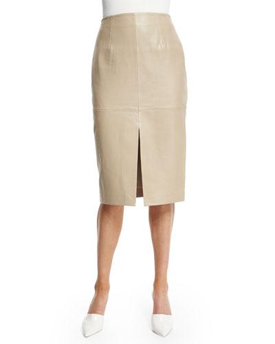 Leather Split-Front Pencil Skirt
