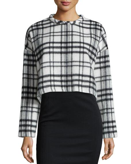 Nicholas Check-Print Cropped Sweater, White/Black