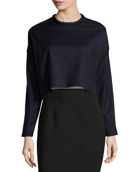 Pinstripe Long-Sleeve Cropped Sweater, Navy